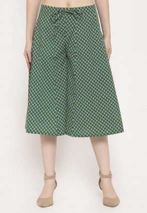 Printed Cotton Culottes in Green