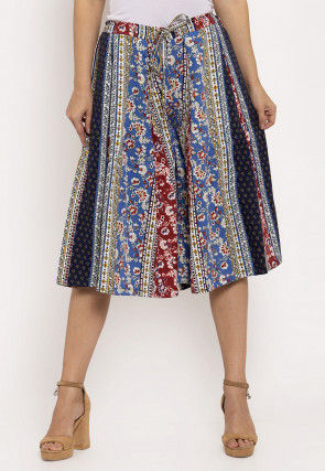 Printed Cotton Culottes in Multicolor