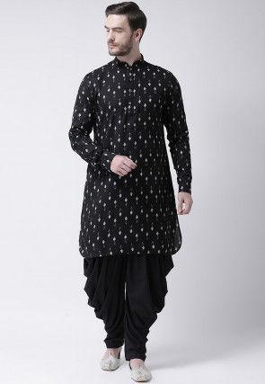 Printed Cotton Dhoti Kurta in Black