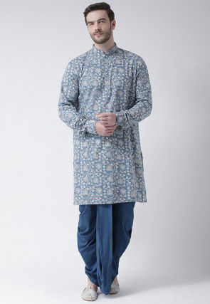 Printed Cotton Dhoti Kurta in Blue