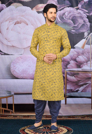 Printed Cotton Dhoti Kurta in Mustard