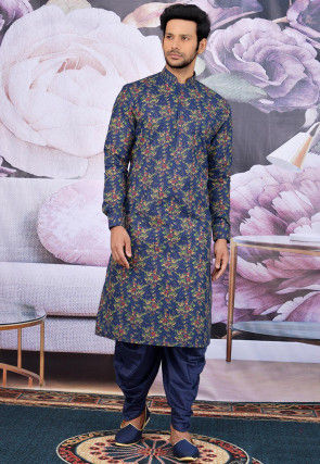 Printed Cotton Dhoti Kurta in Navy Blue