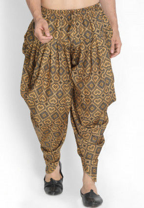 Printed Cotton Dhoti Pant in Beige