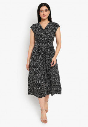Printed Cotton Dress in Black