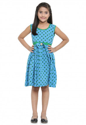 Printed Cotton Dress in Sky Blue