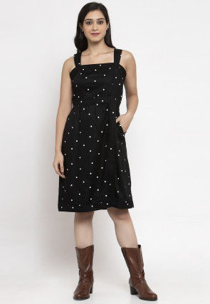 Printed Cotton Fit N Flare Dress in Black