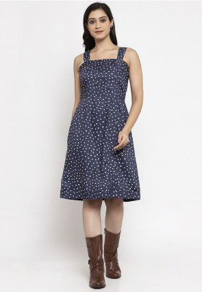 Printed Cotton Fit N Flare Dress in Dark Blue