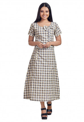 Printed Cotton Flex Dress in Off White and Black