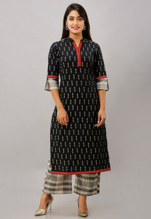 Printed Cotton Flex Kurta with Palazzo in Black