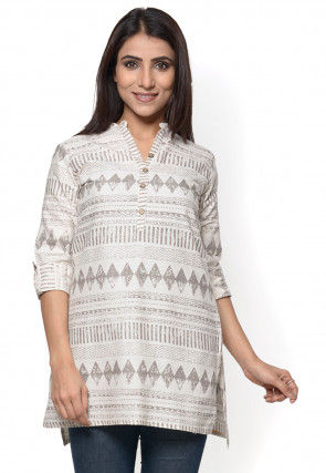 Printed Cotton Flex Short Kurti in Off White