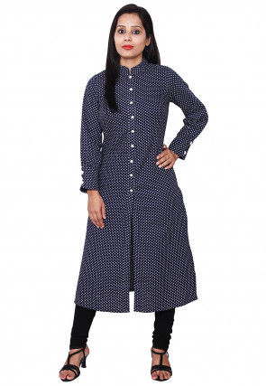 Printed Cotton Front Open Kurta in Blue