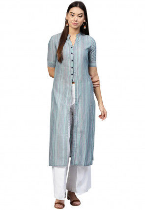 Printed Cotton Front Slit Kurta in Light Blue