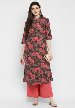 Printed Cotton Front Slit Straight Kurta in Brown