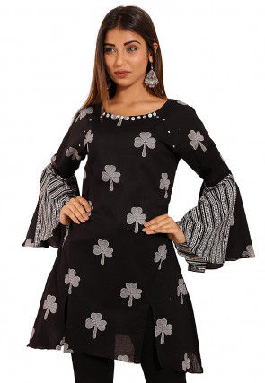 Printed Cotton Front Slitted Tunic in Black