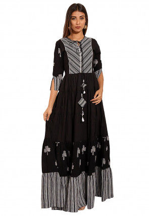 Printed Cotton Gown in Black