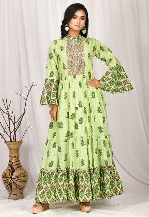 Printed Cotton Gown in Light Green