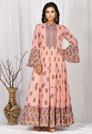 Printed Cotton Gown in Peach