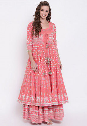 Printed Cotton Gown with Jacket in Peach