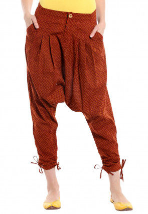 Printed Cotton Harem Pant in Rust