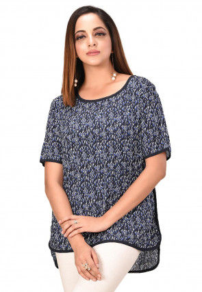 Printed Cotton High Low Top in Navy Blue
