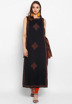 Printed Cotton Jacket Style Kurta in Black and Orange