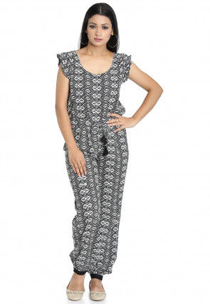 Printed Cotton Jumpsuit in Black and White