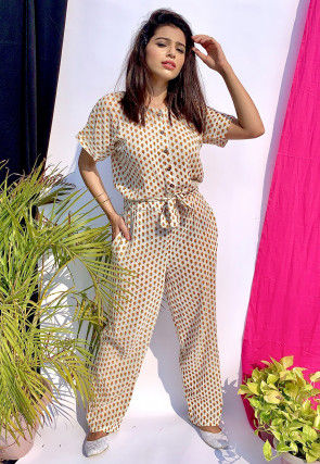 Printed Cotton Jumpsuit in Off White