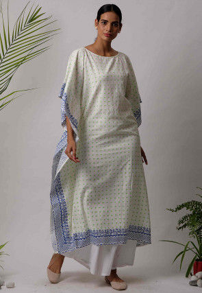 Printed Cotton Kaftan in White