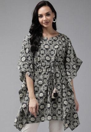 Printed Cotton Kaftan Top in Black
