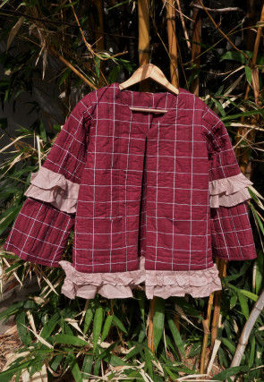 Printed Cotton Kids Quilted Jacket in Maroon