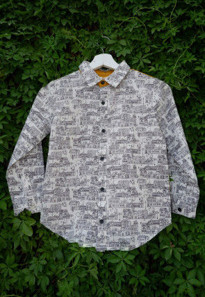 Printed Cotton Kids Shirt in White and Mustard