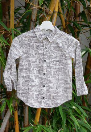 Printed Cotton Kids Shirt in White