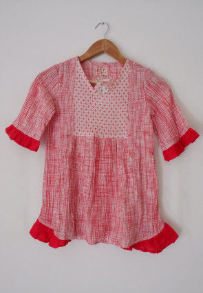 Printed Cotton Kids Top in Red and White