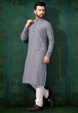 Printed Cotton Kurta in Blue and Off White