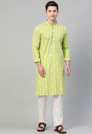 Printed Cotton Kurta in Light Green