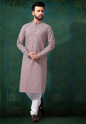 Printed Cotton Kurta in Multicolor