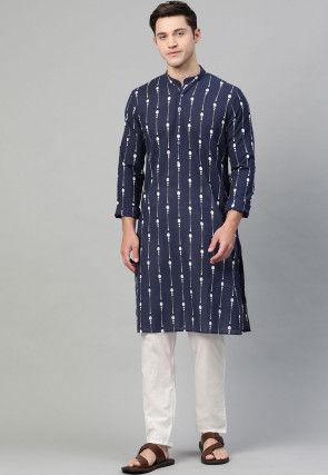 Printed Cotton Kurta in Navy Blue