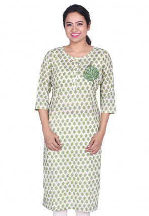 Printed Cotton Kurta in Off White