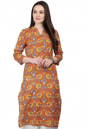 Printed Cotton Kurta in Orange