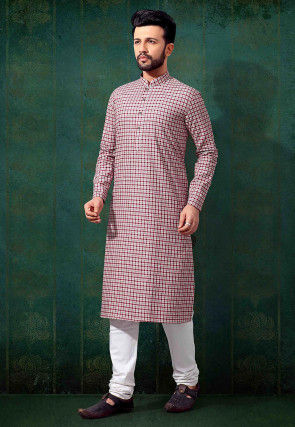 Printed Cotton Kurta in Red and Off White