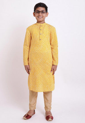 Printed Cotton Kurta in Yellow