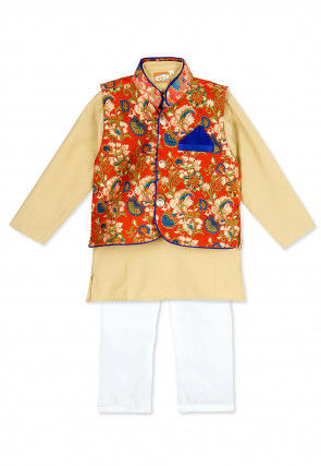 Printed Cotton Kurta Jacket Set in Beige
