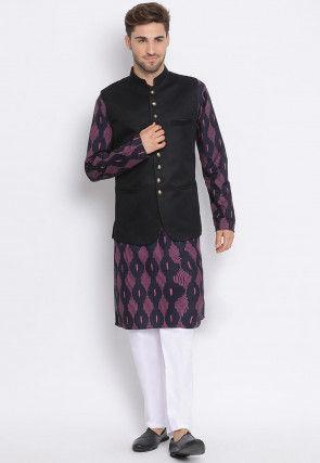 Printed Cotton Kurta Jacket Set in Black