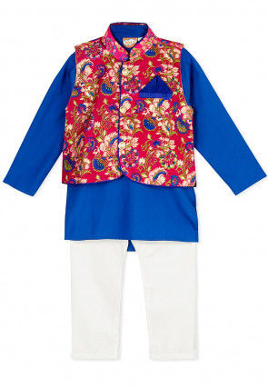Printed Cotton Kurta Jacket Set in Royal Blue