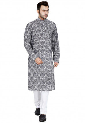 Printed Cotton Kurta Set in Grey