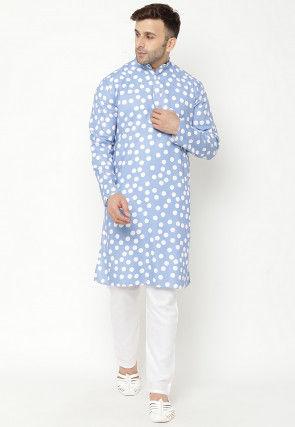 Printed Cotton Kurta Set in Light Blue