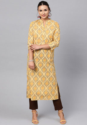 Printed Cotton Kurta Set in Light Yellow