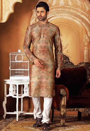 Printed Cotton Kurta Set in Multicolor