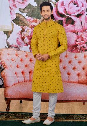 Printed Cotton Kurta Set in Mustard