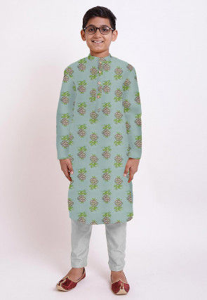 Printed Cotton Kurta Set in Sea Green